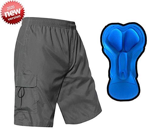 EZRUN Men's 3D Padded Mountain Bike Shorts Lightweight MTB Cycling Shorts (Grey,l)