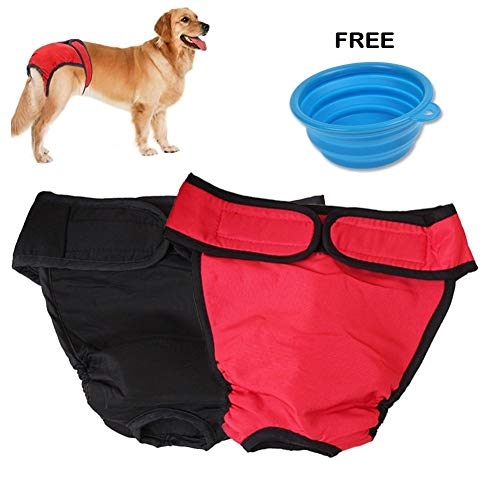 2 Pack of Reusable Dog Diapers [UPGRADE Sizing Chart] Adjustable Dog Sanitary Panties for Male Female with Fastener Strap | High Absorbency Cotton Leakproof Neoprene Underwear | Include Feeding Bowl ()