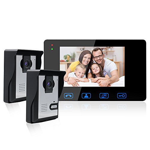 Wired Video Door Phone Intercom System,Video Doorbell Kits 1-7Inch Color Monitor and 2-HD Camera Video Door Chime with Night Vision for Home - Doorbell Intercom Video Color