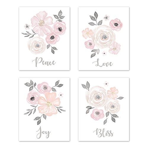 Sweet JoJo Designs Blush Pink, Grey and White Love Peace Joy Bliss Wall Art Prints Room Decor for Baby, Nursery, and Kids for Watercolor Floral Collection - Set of 4 (Bliss Wall Art)