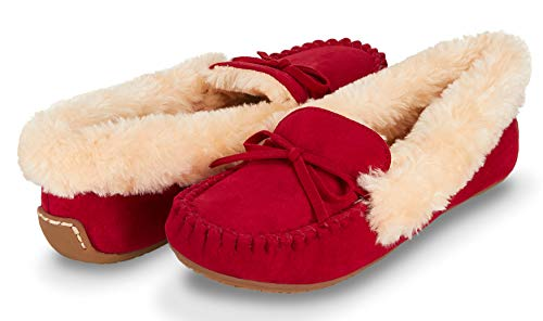 Floopi Womens Indoor/Outdoor Basic Memory Foam Moccasin Slipper W/Faux Fur Collar (9, Red-321)