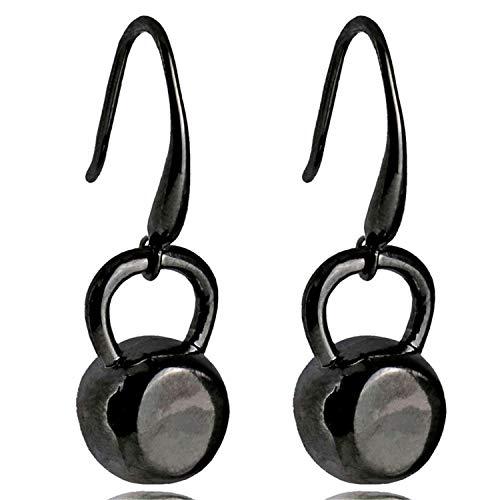 2019 New Popular Fitness Inspirational Kettlebell Dangle Earrings for Women Stainless Steel Black/Silver/