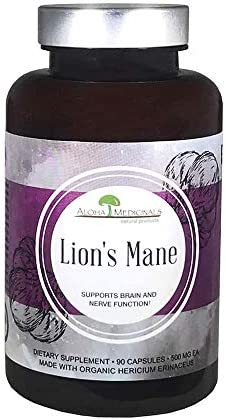 Aloha Medicinals Pure Lion s Mane – Certified Organic Mushrooms Hericium Erinaceus Health Supplement Supports Mental Health, Nerve Growth, Immune System 500mg – 90 Capsules