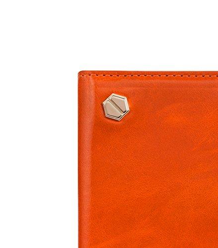 Melkco 4895158675011 Oliver Premium Kuh Leder Hex-shine Series Buch Typ Tasche für Apple iPhone 6 14 cm (5,5 Zoll) orange