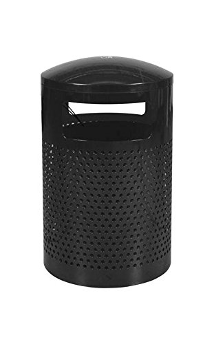 (Ex-Cell Kaiser WR-2441 T BLK Landscape Series Steel Outdoor Perforated Trash Recptacle with Gloss Powder Coat Finish, 40 Gallon Capacity, 24
