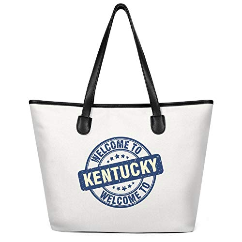 12.5X14 Inches Cute Zip Custom Design Canvas Large Tote Bag For Women Welcome To Kentucky Blue Round Washable & Eco-Friendly Beach Work Gym Book Lunch School Shopping Shoulder Handbag]()