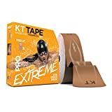 KT Tape PRO Extreme Therapeutic Elastic Kinesiology Sports Tape, 150 Pre Cut 10 X 2 Inch I-Strips, 100% Synthetic, Water Resistant, Breathable, Professional & Olympic Choice (Titan Tan)
