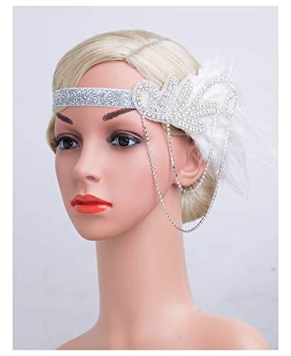 1920s Gatsby Flapper Feather Headband 21s accessories Crystal Beaded Wedding -