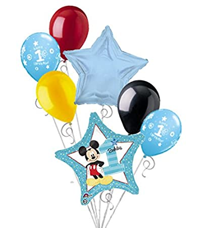 Image Unavailable Not Available For Color 7 Pc Mickey Mouse 1st Birthday Balloon Bouquet Party Decoration