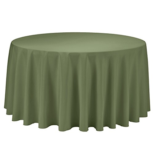 - VEEYOO Round Tablecloth 100% Polyester Circular Bridal Shower Table Cloth - Solid Soft Dinner Table Cover for Wedding Party Restaurant (Olive, 108 inch)