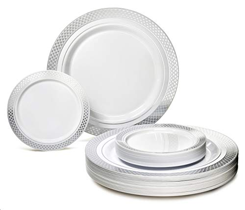 OCCASIONS 240 Pack Heavyweight Premium Disposable Plastic Plates Set - 120 x 10.5'' Dinner + 120 x 6.25'' Dessert/Cake Plates (Celebration in White & Silver)