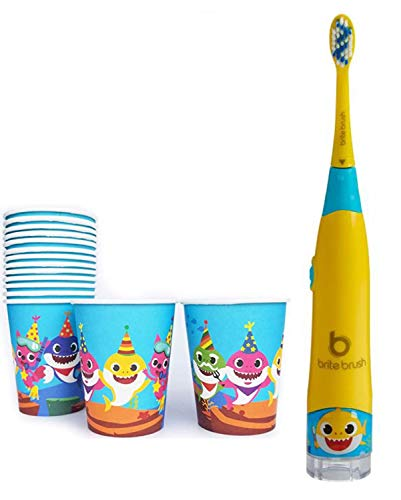 BriteBrush Baby Shark Kids Toothbrush and Rinse Cups Bundle! Interactive Smart Tooth Brush Plus Bonus 12 Cute Shark Disposable Paper Cups! Toothbrush For Kids That Play A Baby Shark Song!