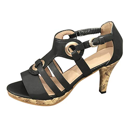 Sunhusing Women's Solid Color Metal Buckle Elastic Band Buckle High Heels Open Toe Sandals Roman Shoes Black