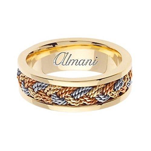 7mm 14k Tri Color Band - Almani 14k Gold 7mm Handmade Tri Color Wedding Ring 073 - Size 12