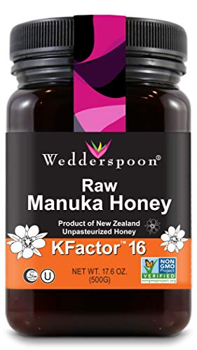 Wedderspoon Raw Premium Manuka Honey KFactor 16, 17.6 Oz, Unpasteurized, Genuine New Zealand Honey, Multi-Functional, Non-GMO Superfood (Australian Honey)