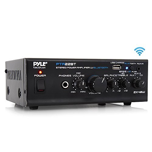Bluetooth Mini Blue Series Home Audio Amplifier - Compact Desktop Home Theater Stereo Amplifier Receiver with USB Charge Port | Pager & Mixer Karaoke Modes | Mic Input (40 Watt x 2) | Pyle PTA22BT ()