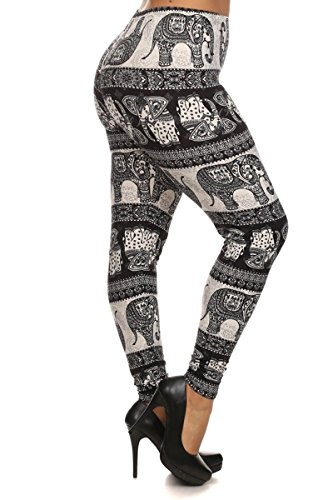 Leggings Depot New Women's Popular BEST Printed Plus Size Fashion Leggings (Oriental Elephant)