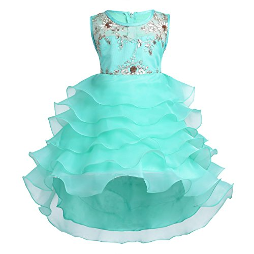 Dress Up Gown - YiZYiF Vintage Beading Bodice Ruffles Girls' Junior Princess Prom Gown Wedding Pageant Trailing Dress Turquoise 4-5