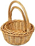 Woodluv Set of 2 Rnd Small Wicker Hamper Gift Basket with Long Carry Handles, Natural