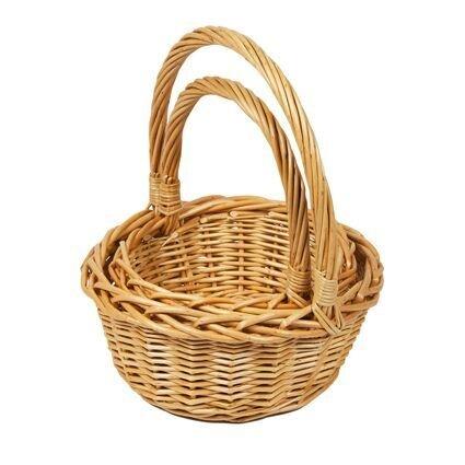 Woodluv Lot de 2 Petits Paniers d'osier ronds, avec longues anses, paniers cadeaux, naturels Elite Housewares