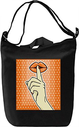 Pop Art Shhh Borsa Giornaliera Canvas Canvas Day Bag| 100% Premium Cotton Canvas| DTG Printing|