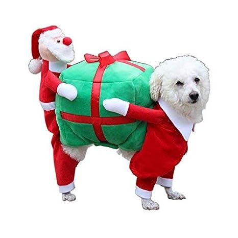 LEHOUR Cachorro de Perro Trajes de Navidad Ropa Gato Cosplay Desgaste Papá Noel Presenta Lindo Abrigo para pequeñas Mascotas