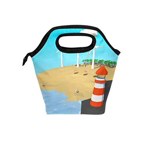Desert Winds Island - DJROW Floating Island Of Desert Beach With Windmills Insulated Easy Zip Lock Resealable Lunch Bag for Picnic Snack Camping Picnic Hot & Cold Pouch