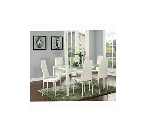 Furniture Deluxe Glass Dining Table Set 7 Pieces Modern Design with Faux Leather Chair Elegant Style Anti Dirt -51.2