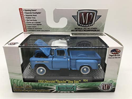 M2 Machines Auto-Trucks 1958 Chevrolet Apache Step Side 1:64 Scale R34 15-38 Blue/White Details Like NO Other! Over 42 Parts