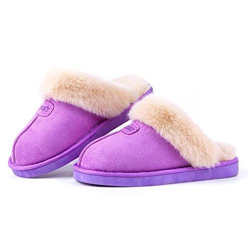 Kenabes Womens Confortable Chaud Doux Intérieur Maison Pantoufle Violet