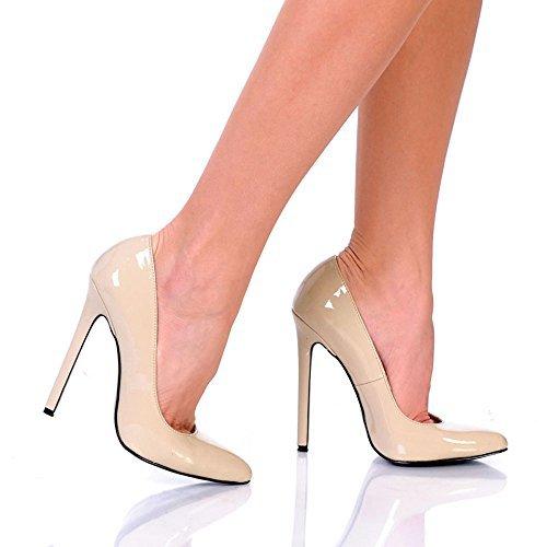 Highest Heel HOTTIE-LG-BEPT-12 5.25 in. Heel Pump in Beige Patent - Size 12 by The Highest (Highest Heel Hottie)