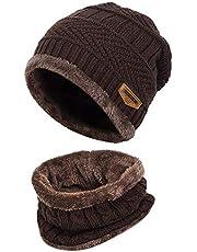 Ereach Invierno Gorros de Punto con Bufanda de Hombre Conjunto de Bufanda Sombrero con Forro de Lana para Hombre de Invierno
