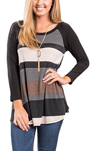Newchoice Womens Loose Casual Long Sleeve Top Striped Patchwork Raglan Tee Shirt