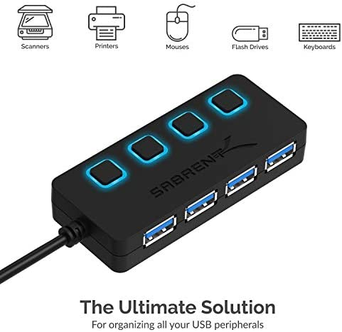 Sabrent 4-Port USB 3.0 Hub with Individual LED Power Switches | 2 Ft Cable | Slim & Portable | for Mac & PC (HB-UM43)