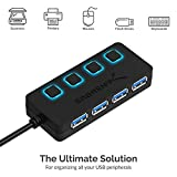 Sabrent 4-Port USB 3.0 Data Hub with Individual LED Power Switches | 2 Ft Cable | Slim & Portable | for Mac & PC