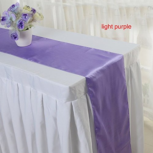 Elina home 12 inch by 108 inch satin table runner light for Table runners 52 inches