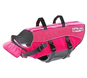 Outward Hound Ripstop Large Dog Life Jacket Life Preserver for Dogs, Pink, Large