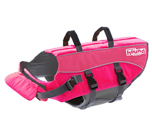 Outward Hound Ripstop Large Dog Life Jacket Life Preserver for Dogs, Dark Pink, Large