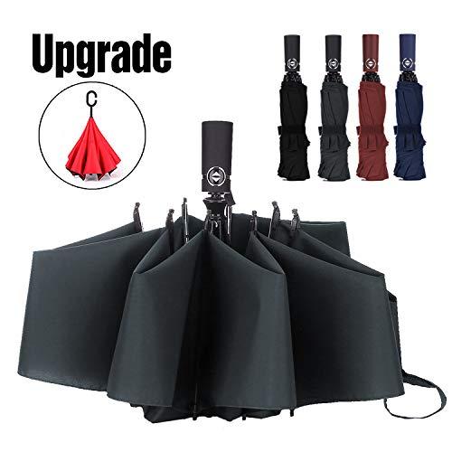 LANBRELLA Compact Reverse Folding Umbrella Auto Windproof Travel Umbrella-Grey