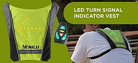 Gilet R/éfl/échissant /à LED avec indicateur de Direction avec T/él/écommande sans Fil Rechargeable par USB Installation Facile TriLance Gilet de Cyclisme /à LED Feux de Direction