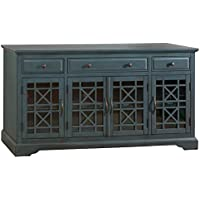 Jofran 175-60 Craftsman Media Unit Television Stand, 60, Antique Blue