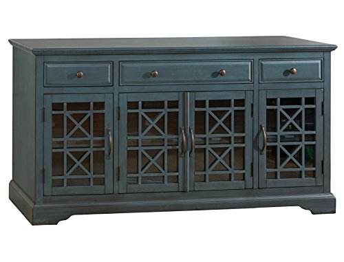 "Jofran: 175-60, Craftsman, 60"" Media Unit, 60""W X 19""D X 32""H, Antique Blue Finish, (Set of 1) - Three Drawers: Corner Blocked with French Dovetailed Fronts Four Doors; Made in Vietnam Center Drawer Dimensions: 24.5""W x 13.3""D x 3.3""H - tv-stands, living-room-furniture, living-room - 41zV4KdkDgL -"