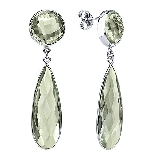 Gem Stone King 32.00 Ct Green Amethyst Round & Pear Shape Silver Silver Dangle Earrings
