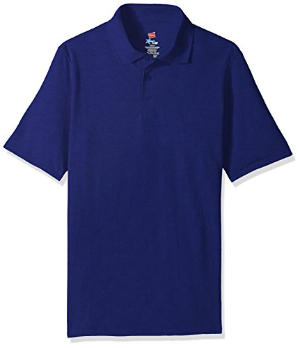(Hanes Men's Short Sleeve X-Temp W/ FreshIQ Polo, Deep Royal,)