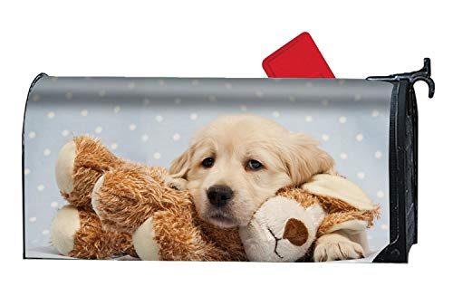- MAYS Fashion Magnetic Mailbox Cover - Animal Golden Retriever Dogs Puppy Baby Stuffed,Decorative Mailbox Wrap for Standard Size