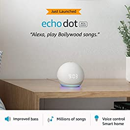 All-new Echo Dot (4th Gen) with clock | Next generation smart speaker with improved bass, LED display and Alexa (White)