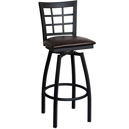 Back Powder Coat - American Tables & Seating 85BSS-BVS Nine Grid Back Metal Swivel Bar Stool, Welded 1-1/8