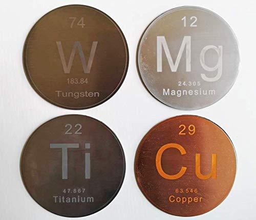 Polar Elemental Coaster Set: Ti, W, Mg, Cu