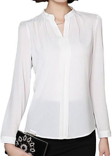 Camisas para mujer y chemisiers camisa volantes en los mujeres manga larga cuello redondo, otros, color blanco, tamaño XL: Amazon.es: Deportes y aire libre