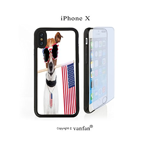 iPhone X Case, vanfan iphone X/10 Case-tion Americanog with Usa Flag and Shades Sunglasses(black) Design Hard PC Back Protective Cover Skin Case For Apple iphone X-iPhone X Screen Protector - Sunglass Usa Wholesale